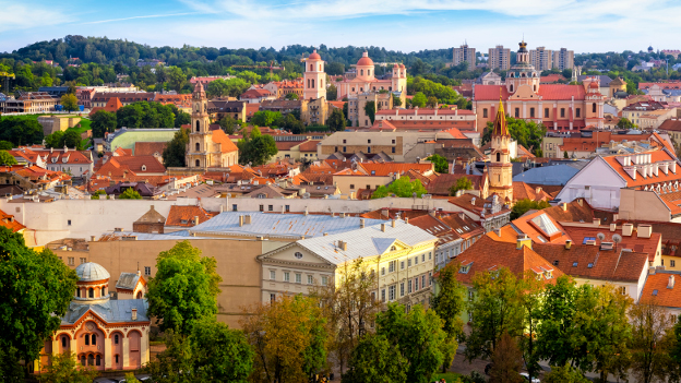 Aerial view of the old town in Vilnius, Lithuania